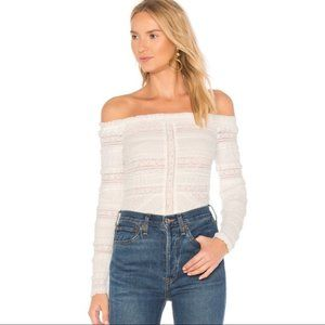 Cinq a Sept Solene Lace Blouse in White/Nude